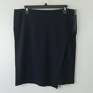 CAbi #998 Faux Wrap Black Skirt